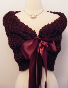 Bride Bolero / Wedding Shawl / Shrug / Bridal Shawl / Burgundy Shawl / Red Shawl / Custom Made via Etsy