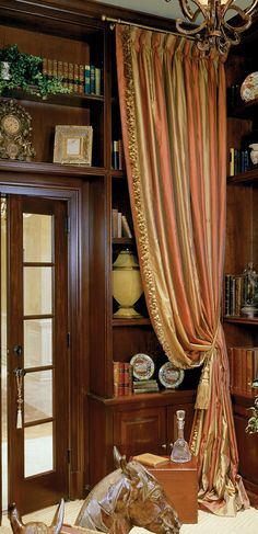 "Ann Kenkel striped silk draperies ""A great way to frame built in shelving to add elegance and (possibly unexpected) noise barrier."" Tanna Espy Miller, owner DesignNashville, columnist ""Ask a Designer"" Nashville House and Home and Garden Magazine."