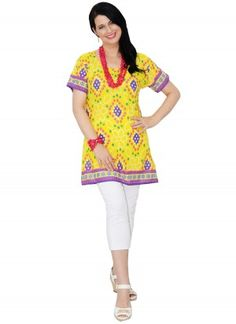 Bella Mid Length Printed Yellow Tunic Top  AUD $24.95