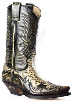 Corbeto's Boots   3241 Cuervo Denver Tierra-Pitón Barriga Panizo   Bota cowboy Sendra unisex piel serpiente   Sendra Boots unisex snake skin cowboy boots.