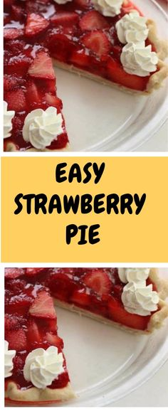 EASY STRAWBERRY PIE Ingredients: 1 refrigerated Pie Crust 2 cup sliced Strawberries 2 tbsp Cornstarch 1 cup Sugar 1 cup Water 1 box Strawberry Gelatin (like Jell-O) Instructions: Preheat oven to Place pie crust in pie pan and crimp edge. Easy Strawberry Pie, Strawberry Recipes, Jell O, Just Desserts, Delicious Desserts, Graham, Refrigerated Pie Crust, Pie Dessert, Sweet Recipes