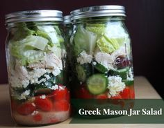 Greek Mason Jar Salad Recipe Salads with olive oil, cherry tomatoes, mini cucumbers, pitted Greek olives, feta cheese crumbles, rotisserie chicken, romaine lettuce