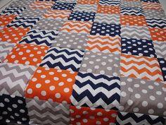 Navy Blue Orange and Grey Patchwork Minky Blanket by KBExquisites