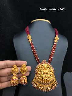 Temple jewellery available at Ankh Jewels for booking msg on Gold Ring Designs, Gold Jewellery Design, Fashion Jewellery, Gold Fashion, Fashion Necklace, Gold Jewelry, Beaded Jewelry, Pearl Necklace Designs, Beaded Necklace Patterns