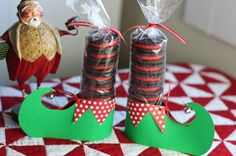 christmas craft-Elf boots - would be cute holiday party favors, placecards,