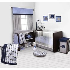 Bacati - Elephants Blue/Gray 10-Piece Nursery in a Bag Crib Bedding Set 100% Cotton Percale Boys Crib Bedding Set with 2 crib fitted sheets (Bumper Pad not included) for US standard Cribs