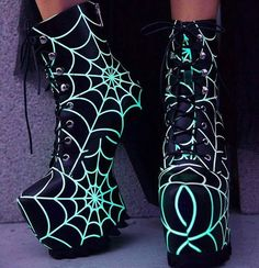 0655bee600d9 Shoes Laceup Neon Green Seafoam Green Glow-in-the-Dark Spiderweb Hidden  Platform Heels Over-the-Ankle Booties. They would look hotter as Heelless  Wedges