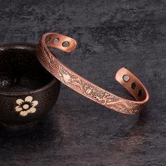 Copper Bracelet Vintage Lucky Chinese Dragon and Phoenix Cuff Bracelet, Health Magnetic Bracelet, Healthy Sparkle Accessory
