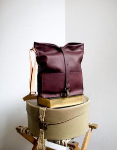 TomTom Soft Leather Tote Bag in Eggplant Burgundy by AwlSnap