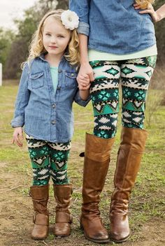 Mommy And Daughter Matching Leggings Tribal Print Mommy
