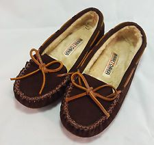 Minnetonka Moccasins Womens 6 Leather Brown Lined Slippers Boho Western Flats