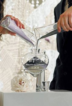Brides: ForeverWedStore.com. See more from ForeverWedStore.comThe happily ever after heart unity sand ceremony is another way to make a sand ceremony even more meaningful. By adding a third vase (included) you are able to add another symbolic element to this event. Incorporate your priest, child or have the third vase represent your shared spiritual beliefs. The Engravable heart shaped bottle, with glass stopper, creates a beautiful reminder that will preserve the moment for years to come…