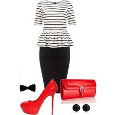 """Striped Business Woman!"" by livimusic on Polyvore"