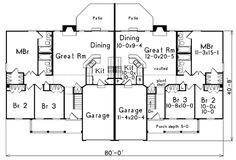 Ranch Multi Family Plan 54419 Duplex Plans And Ranch: duplex floor plans with double garage