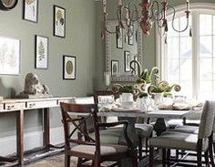 Sage green dining room: 'Creekside Green' by Benjamin Moore | by SarahKaron