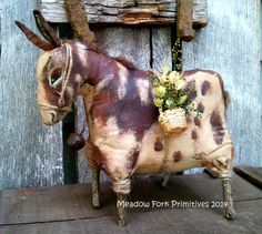 Primitive Folk Art Spotted Donkey Shelf epattern by MeadowForkPrims on Etsy, $8.50