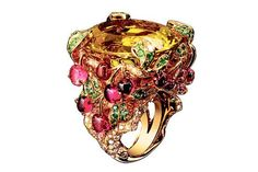 yellow jewerly ring with cherries. Victoire de Castellane for Dior