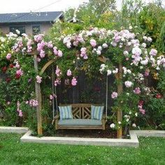 Garden Arbor Swing With Flowers , Garden Arbor Swing In Garden And Lawn Category Architectural Landscape Design
