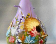 Hand geschilderd lavendel boeket Bird House kalebas