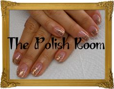 gold glitter fade, gel polish, natural nails, manicure