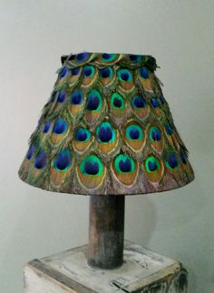 "UNIQUE REAL Peacock feather lampshade 23cm (9"") 9 inches"