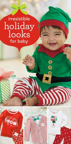 Irresistible Holiday Looks for Baby - These too-cute holiday outfits take Babies First Christmas, Christmas Pajamas, Christmas Baby, Cozy Christmas, Family Outfits, Holiday Outfits, Kids Outfits, Baby Mine, Little Boy Fashion