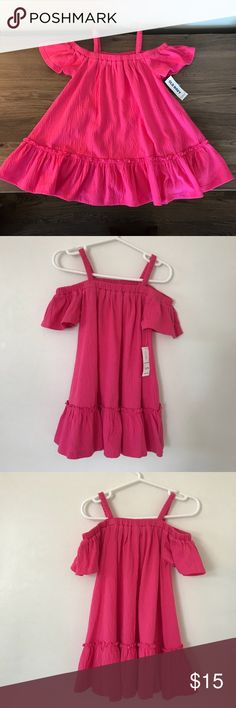 Pink toddler dress Fun NWT bright pink dress. Size 2T,  has tank top straps and off the shoulder sleeves. Old Navy Dresses Casual