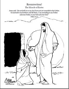 Resurrection story.  Coloring page, script and audio Bible story.