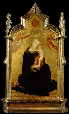 """met-european-paintings:  """"Madonna and Child with Angels by Sassetta, European Paintings  Medium: Tempera on wood, gold ground  Gift of George Blumenthal, 1941 Metropolitan Museum of Art, New York,..."""