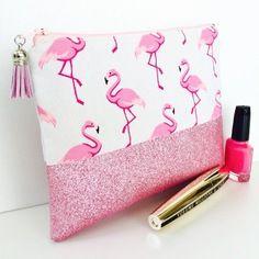Trousse à maquillage rose flamants roses et tissu à paillettes rose