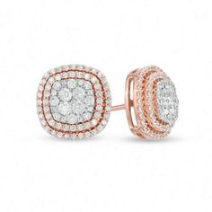 Zales 1 CT. T.W. Diamond Cluster Frame Stud Earrings in 10K Rose Gold