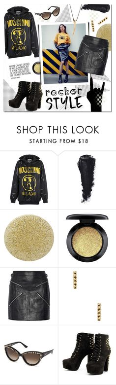 """""""#rockerchic"""" by justlovedesign ❤ liked on Polyvore featuring Moschino, Burberry, MAC Cosmetics, Alexander Wang, Shashi, rockerchic and rockerstyle"""