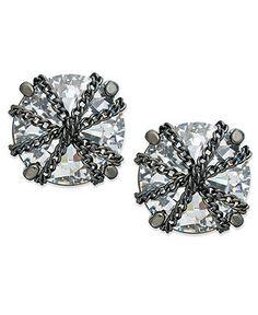 ABS by Allen Schwartz Earrings, Hematite-Tone Crystal Chain-Wrapped Stud Earrings - Fashion Jewelry - Jewelry & Watches - Macy's