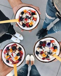 Amazebowls, Acai Bowls in downtown Los Angeles in a coconut