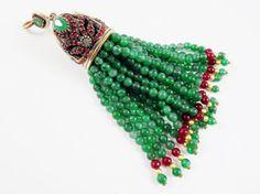 Large Long Green & Garnet Red Jade Stone Beaded by LylaSupplies, $27.00