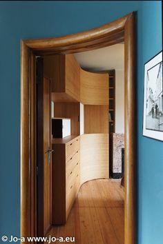 Custom made walk-in wardrobe perfectly integrated in the architecture. Designed by Jo-a #design #architecture #furniture Meuble dressing sur mesure parfaitement intégré à l'architecture du lieu. Une création Jo-a.