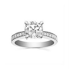 Engagement Ring with 0.2 CT. T.W. side diamonds, Round Shape