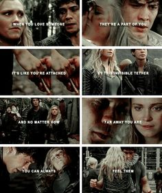 The binding spells ties them together mentally. They can feel each other's emotions as well as experience their physical sensations. Bellarke Tumblr, The 100 Quotes, 100 Memes, The 1000, Sky People, The 100 Show, Bob Morley, Eliza Taylor, Cartoon Tv Shows