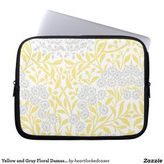 Yellow and Gray Floral Damask Pattern Computer Sleeve
