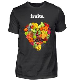 FRÜCHTE HERZ FRUITS VEGAN VEGGIE T-Shirt Vegan, Mens Tops, Fashion, Fruit, Heart, Moda, Fashion Styles, Fasion, Vegans