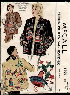 McCalls 1399, Mexican Embroidery Jacket Vintage Sewing Pattern, circa  1948