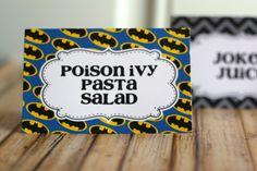 Batman Party Food Tents. $8.00, via Etsy.