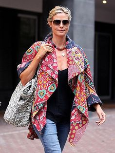 Heidi Klum in kantha jacket Vintage Kimono, Vintage Jacket, Quilted Clothes, Sewing Clothes, Winter Jackets Women, Coats For Women, Ropa Shabby Chic, Coton Vintage, Vintage Cotton