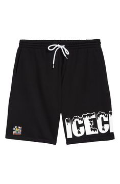 Melting logotype pairs with a checkered Cones and Bones patch to anchor the legs of inky-black athletic shorts sporting spiral aglets on the drawstring.
