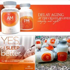 AM & PM are dietary supplements exclusively designed for your well-being. AM essentials provides lasting daytime energy and increases concentration while PM essentials helps prepare you for a restful nights sleep so your body can focus on cell maintenance and renewal.