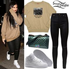 Kylie Jenner was spotted arriving at Menchie's Frozen Yogurt in California last week wearing a Four Two Four We're Here To Help Crewneck ($210.00), 7 For All Mankind High Waist Ripped Coated Skinny Jeans (£260.00), a Chanel Medium Boy Bag with Rainbow Hardware (Not available online) and a pair of Nike Air Force 1 Mid Shoes ($95.00). You can find similar jeans at Missguided ($47.60).