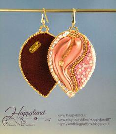 Shibori and embroidery earrings