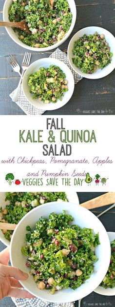 Fall Kale & Quinoa Salad is a hearty seasonal salad. It combines kale, quinoa, chickpeas (garbanzo beans), pomegranate, apples, and pumpkin seeds. Vegan and gluten free | Veggies Save The Day #vegan #glutenfree #kalesalad #quinoa