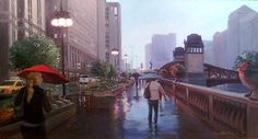 David Becker, Heading Down Wacker Oil; Chicago Artists and Contemporary Art; Chicago, Illinois; Paintings are available for purchase - call or email to inquire about pricing.