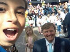 Kingsday 2014, selfie with King Willem Alexander and princess Amalia.